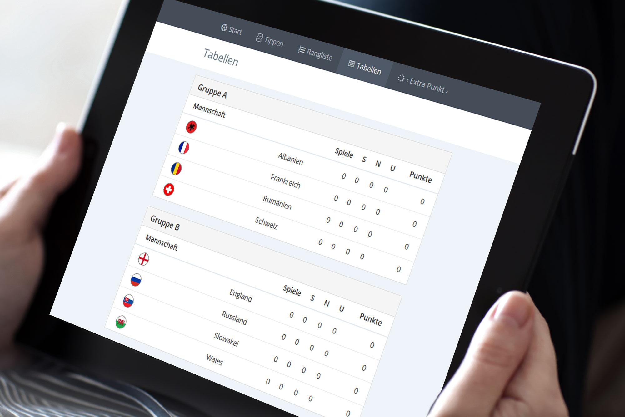 EM Tippspiel Fußball App Tablet